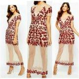 Вечернее платье с красными пайетками