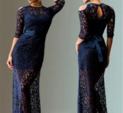 Платье кружево длинное синее M в пол