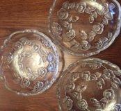 Хрустальные тарелки тарелочки салатницы
