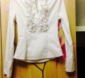 белая блуза с рюшами 42 размер
