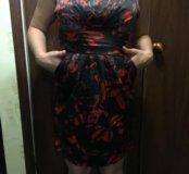 Платье атласное черно-красное