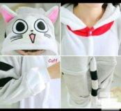 Серый полосатый кот, кигуруми пижама комбинезон