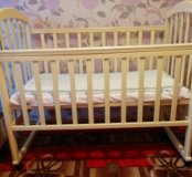 Детская кроватка(матрас, балдахин, бортики,клеенка