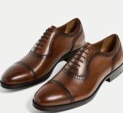 Туфли кожаные ZARA коричневые.