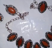 Комплект под серебро с рыжим авантюрином