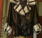 Кожаная куртка с натуральным мехом кролика.