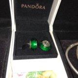 Продам шарм Pandora Зеленое ограненное стекло
