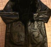 Мужская кожаная куртка с натуральным мехом.