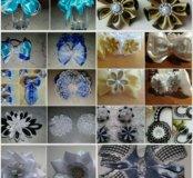 Бантики из атласных лент Канзаши ручной работы