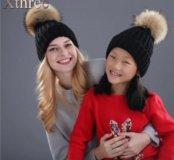 Новые детские и женские шапки натур мех