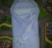 Конверт - одеяло на выписку +шапочка