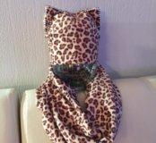 Шапка с ушками+шарф новые