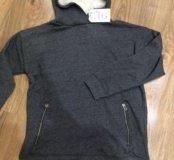 ZARA новая толстовка с карманами и меховым капюшон