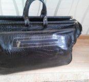 Новая кожаная сумка-саквояж