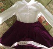 Рубашка и юбочка на 4-6 лет