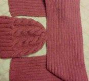 Вязаный шарф и шапка ручной работы