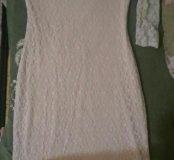 Платье короткое бежевое