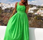 Зелёный сарафан в пол