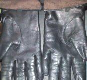 Зимние женские кожанные(лайка) перчатки