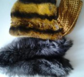 Мех воротник из чернобурки и капюшон из кролика