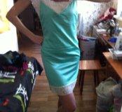 Платье комбинация , натуральный шелк с кружевами