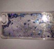 Чехол на айфон 5 5 s с блёстками и водой