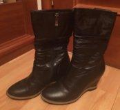 Черные зимние кожаные сапоги aidini