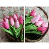 Текстильные тюльпаны розовые