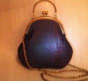 Сумка синяя Ретро (кожа, HM)