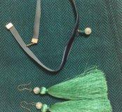 комплекты Серьги-кисти и чокеры ручной работы