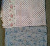 Отрезы ткани: х/б ткань с каймой и батист