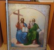 Икона 19 век Троица , большая храмовая икона.