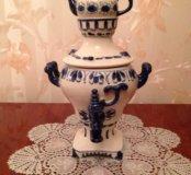 Керамический сувенирный самовар (гжель)