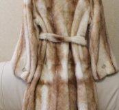 Светлая норковая шуба модель пальто