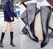 Новые стильные кожаные сапожки еврозима