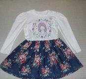 Платье новое (х/б + тонкий джинс)р.116