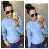 Женский новый свитер с бусинками р-р 44