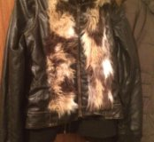 Куртка кожаная и жилетка меховая с кожей