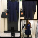 Замшевое платье, тренд. Синие