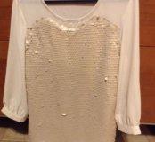 Новая блуза Souvenir бежево-золотистая 42-44