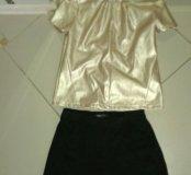 Кожаная блуза+черные шорты