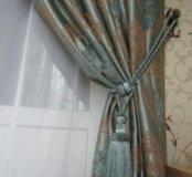 Новые шторы хлопок шелк и бархат цвет бирюза 2поло