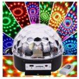 Светомузыкальный разноцветный диско шар LED RGB Cr