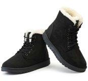 Зимние ботиночки для прогулок Черного цвета