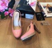 Кожаные розовые открытые туфли ALBA (разм. 38)