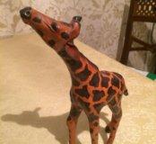 Фигурка жирафа натуральная кожа