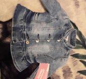 Новая джинсовка на девочку 6-9мес