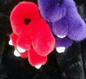 Кролик брелок красный фиолетовый