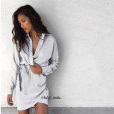Атласная рубашка-платье новое