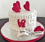 Торт на день влюбеных